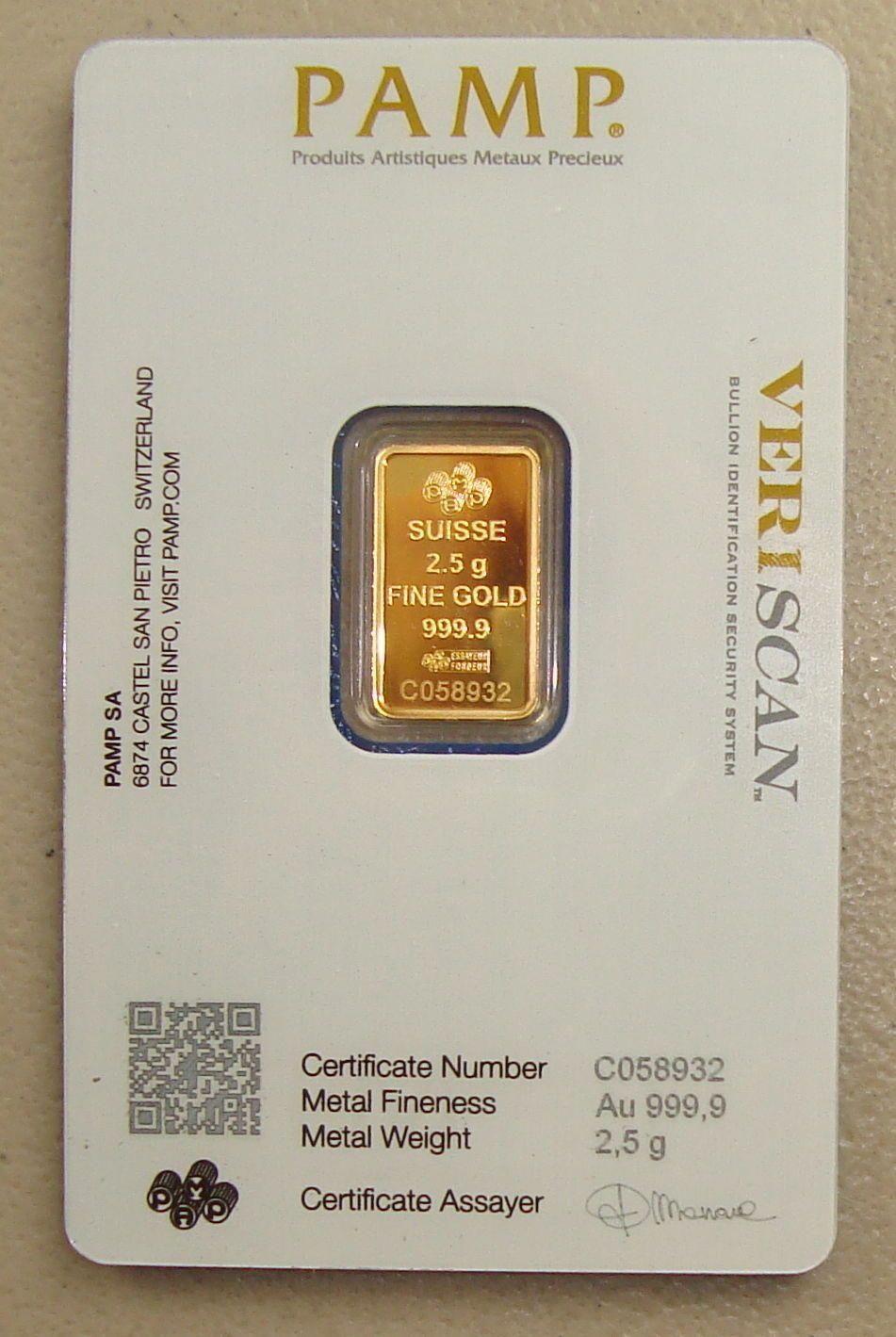 Pamp Suisse 2 5 Gram 24k 9999 Pure Gold Bullion Art Bar Goldbullion Gold Bullion Bullion Pure Gold