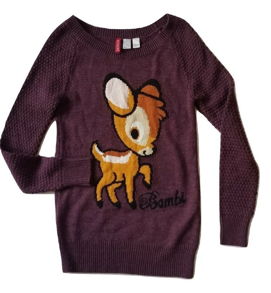 Disney X H&M Divided Purple Bambi Sweater Sz 2 #DisneyXHM