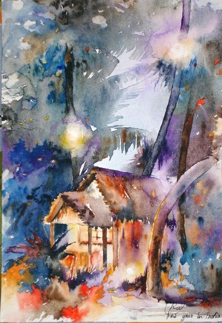 Indian New Year Bright Watercolor Paintings Houses Palm Trees