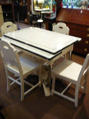 S10 Vintage Art Deco Enamel Top Table 4 Chairs Dining Set White Black 2  Leaves |