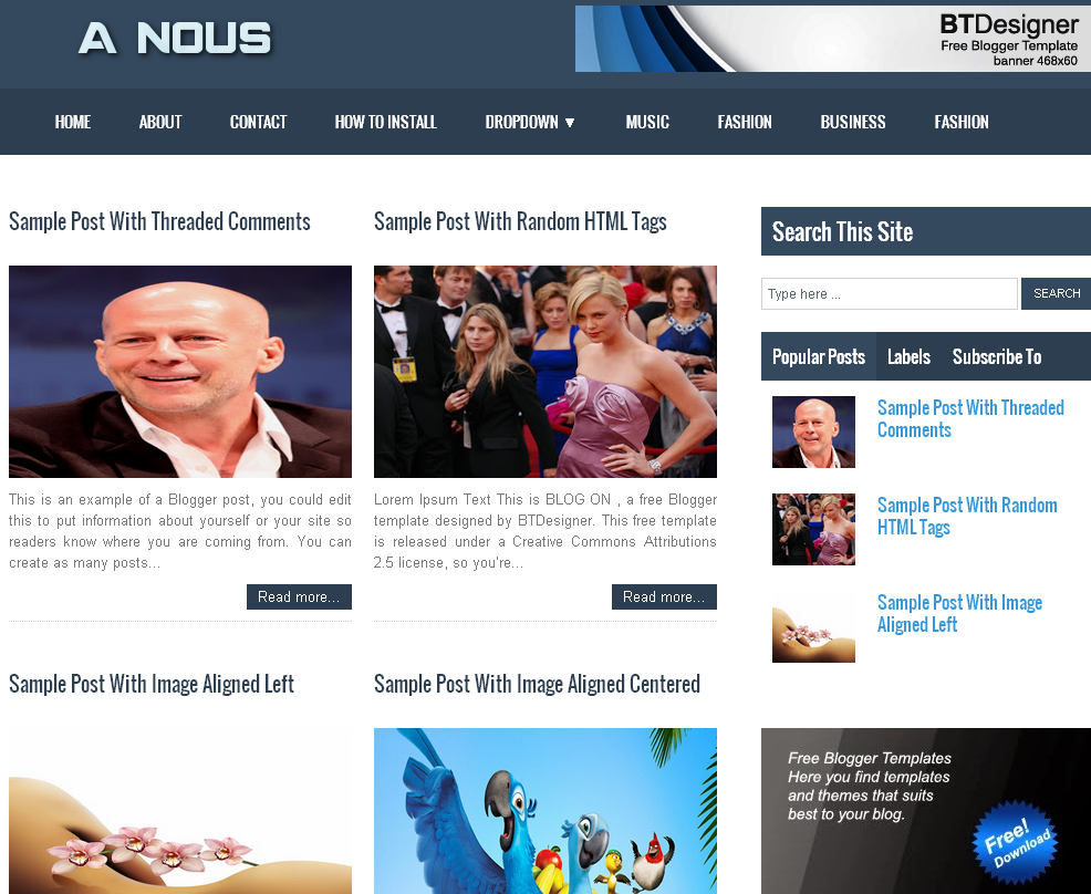 A-Nous Magazine Blogger Template | Web Design | Pinterest