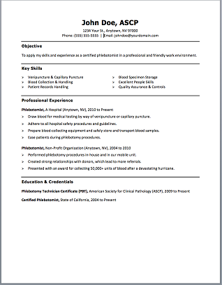Phlebotomy Technician Resume Phlebotomy Resume Includes Skills, Experience,  Educational Background As Well As Award Of The Phlebotomy Technician Or  Also ...  Phlebotomist Duties Resume