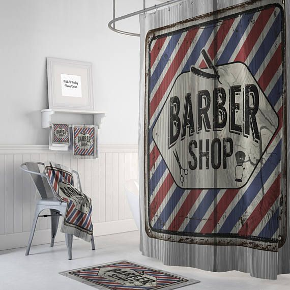 Shower Curtain Primitive Rustic Barber Shop Sign Faux Wood Optional Bath Mat Towels