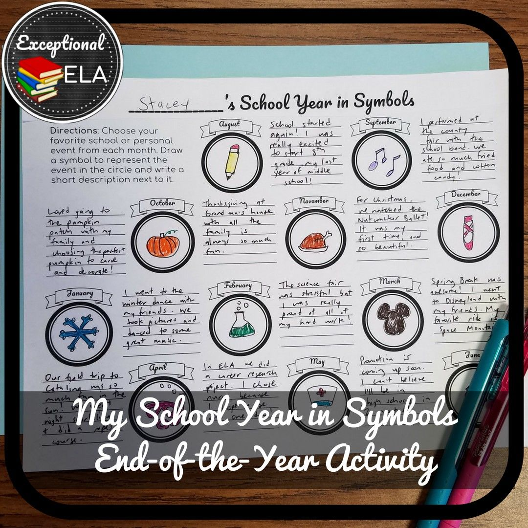My School Year In Symbols An End Of The Year Activity For