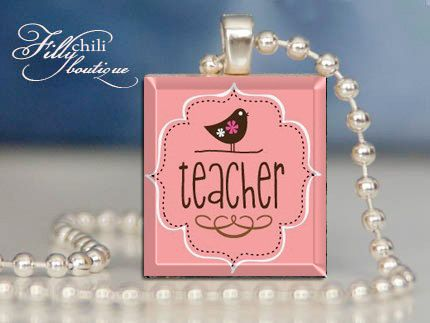 """TEACHER 01  Scrabble Pendant Necklace  with 18"""" Ball Chain Necklace, handmade by Frilly Chili"""