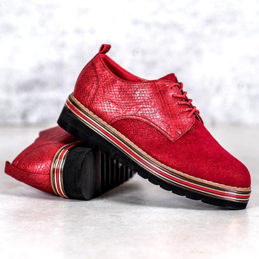 Shelovet Polbuty Na Platformie Snake Print Czerwone Shoes Women Heels Shoes Women Shoes