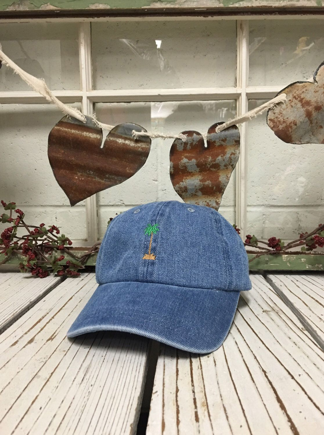 PALM TREE Embroidered Baseball Cap Low Profile Curved Bill - Light Denim by  PrfctoLifestyle on Etsy ff951388eaea