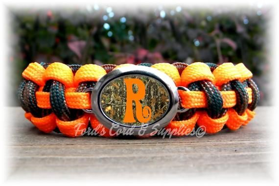 Paracord Bracelet with a Camo Initial Alpha or Diva Charm Monogram Choose Orange or Pink Women B