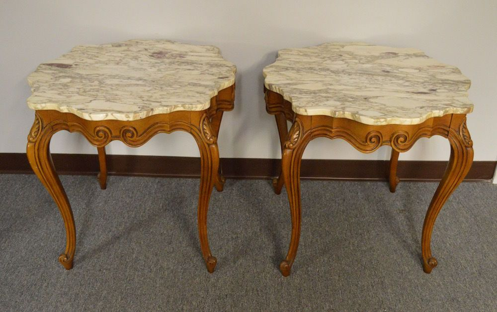 Pair Of Vintage French Provincial Marble Top End Tables Marble