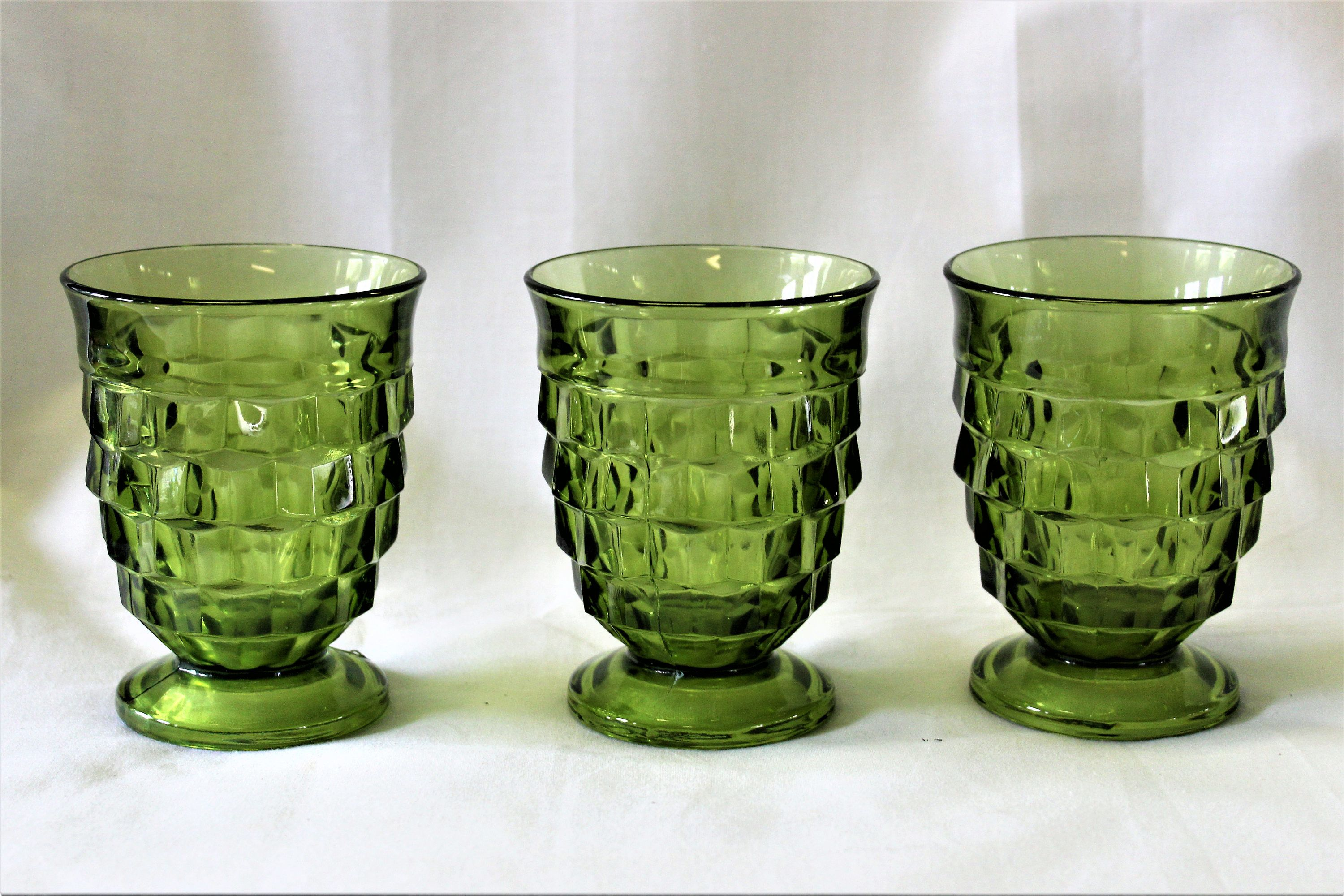 Vintage 1960S Indiana Glass Whitehall Colony Cubist Avocado Green Set