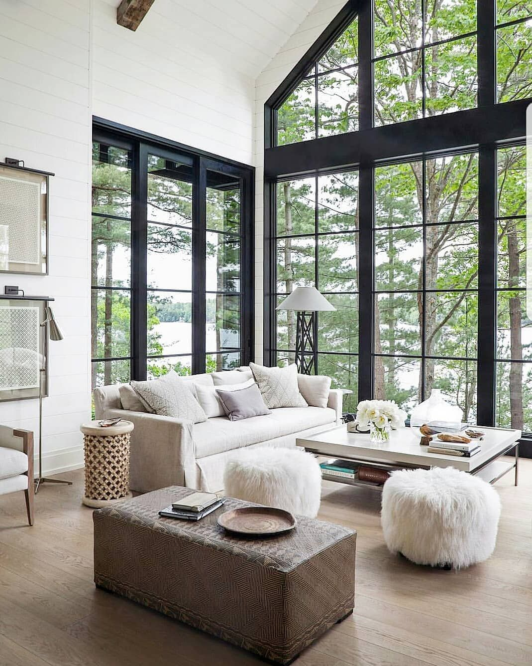 Jordan On Instagram I Like Big Windows And I Cannot Lie The Bigger The Window The Better In My Opinio Modern Lake House Winter Living Room Lakehouse Decor