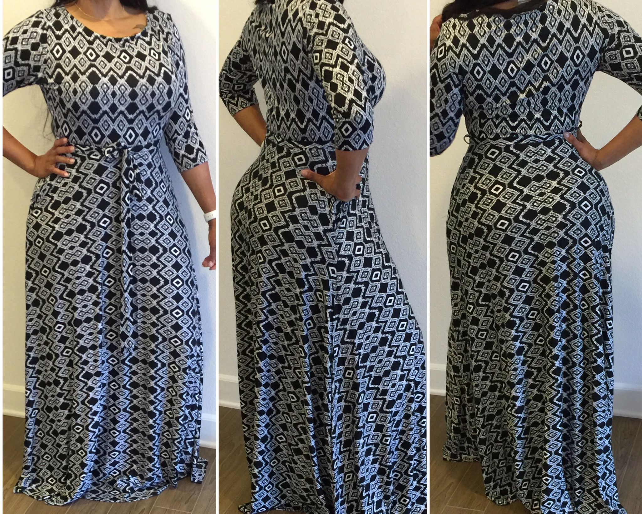New Plus Size Black And White Abstract Print Maxi Dress Size XL/1XL