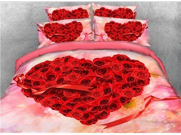 3d Heart Shaped Red Roses And Ribbon Printed Cotton 4 Piece Bedding Sets Duvet Covers Floral Bedding Sets Floral Bedding Bedding Sets