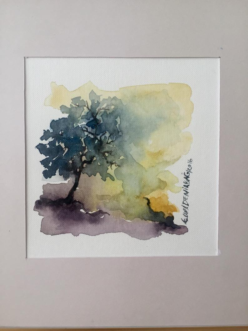 Natur Baum Aquarell Kunst Liebhaber Geschenk Aquarell
