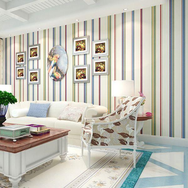 Colored Vertical Striped Wallpaper Bedroom Living Room Sofa Backdrop Wallpaper England Striped Wallpaper Living Room Striped Walls Vertical Living Room Designs