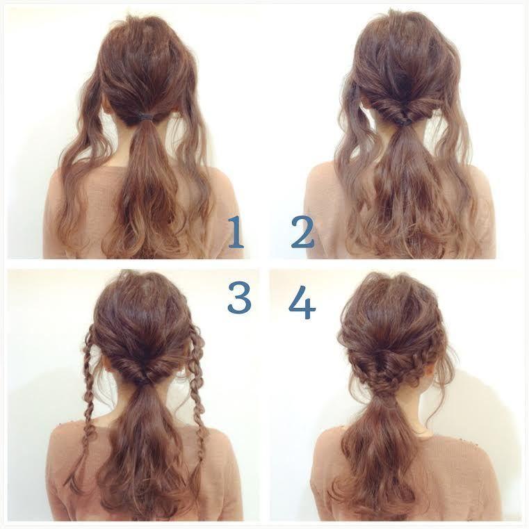 誰でも簡単 くるりんぱ編み込み風ヘアアレンジ ヘアスタイリング 美髪 ナチュラルヘアスタイル