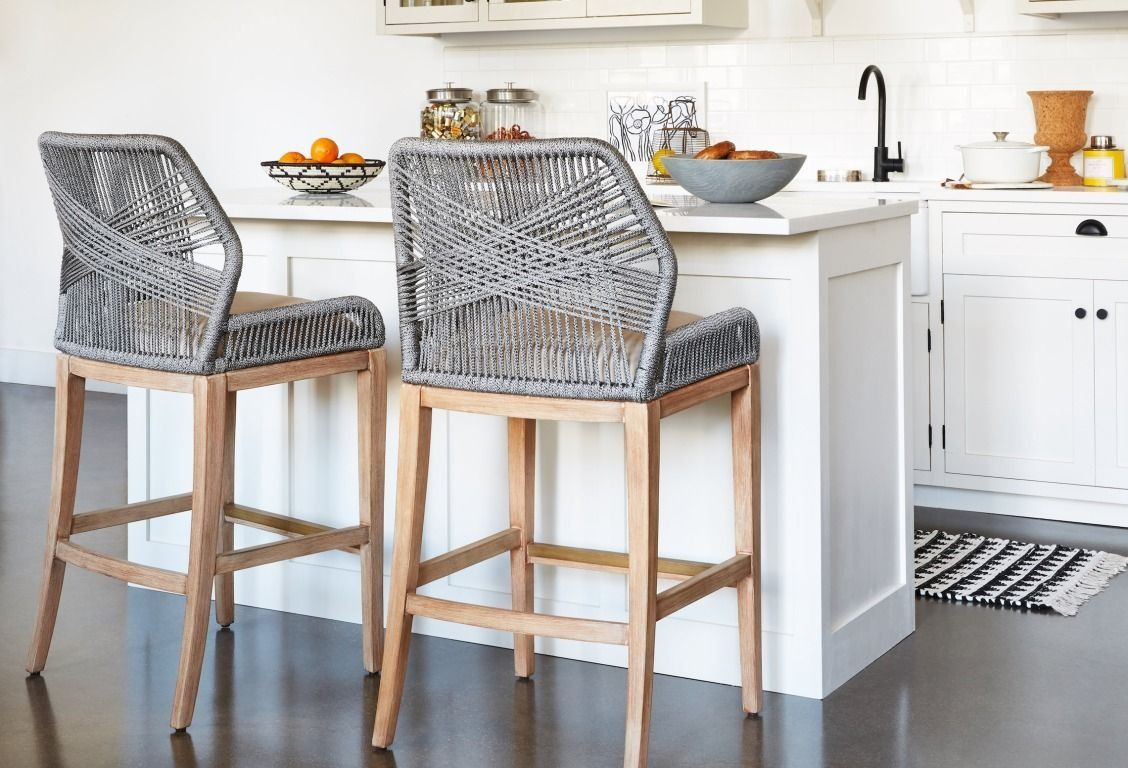 Woven Rope Counter Stools Add A Rustic Modern Touch To Any Kitchen Furniture Home Decor Decor