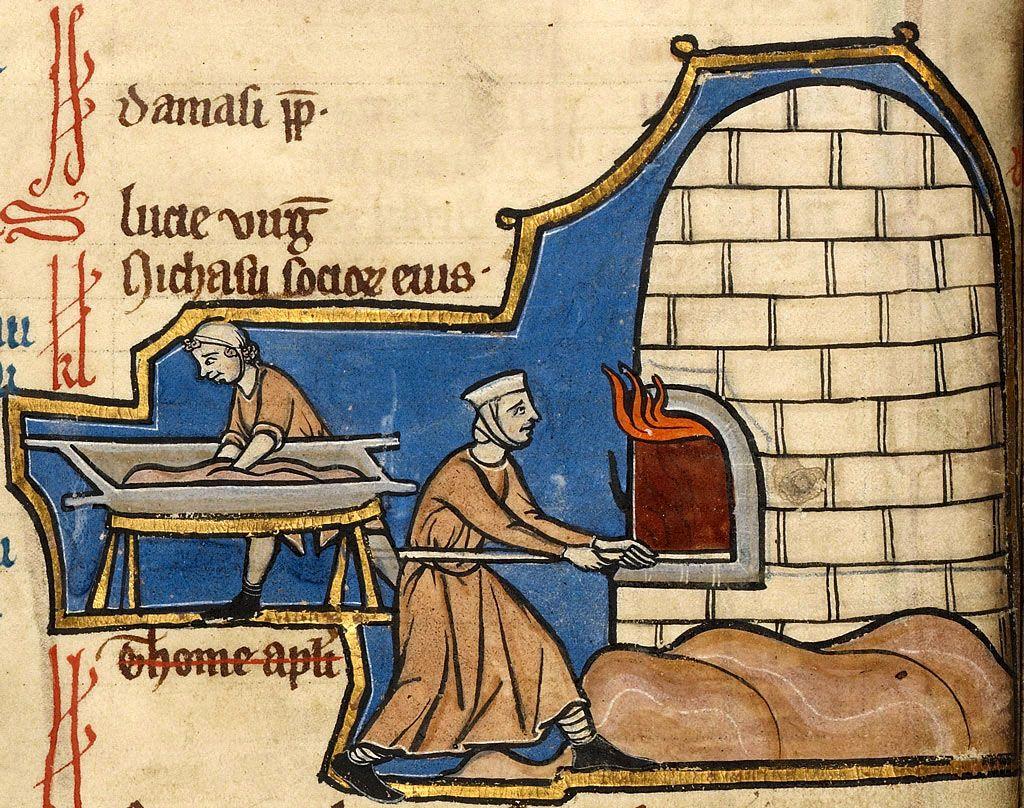enluminure médiévale explicitant de travail de boulangers.