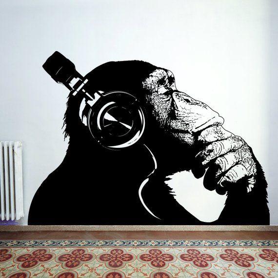 Thinking Monkey Wall Art Sticker Banksy Dj Chimp Decal The