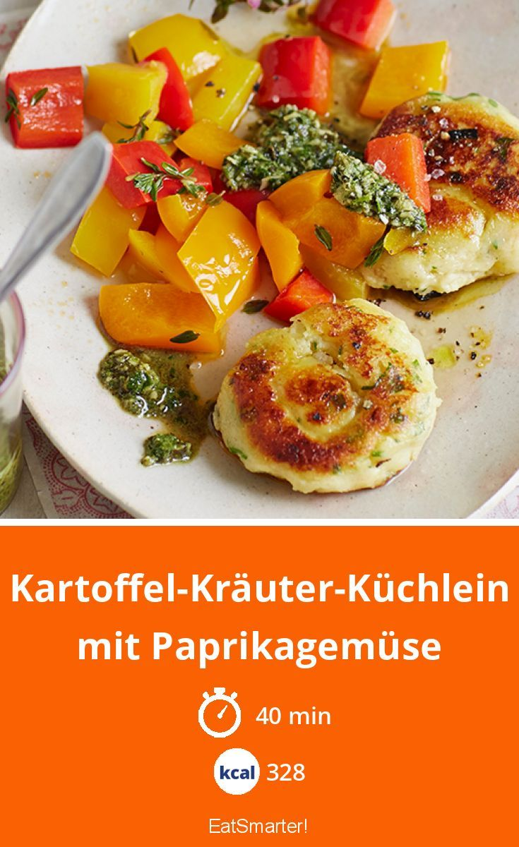 Photo of Potato and herb cakes with paprika vegetables