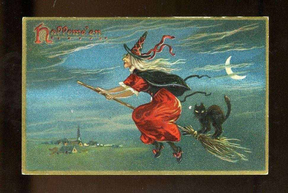 Tuck's Halloween Postcard Witch on Broom with Black Cat Postally Unused |
