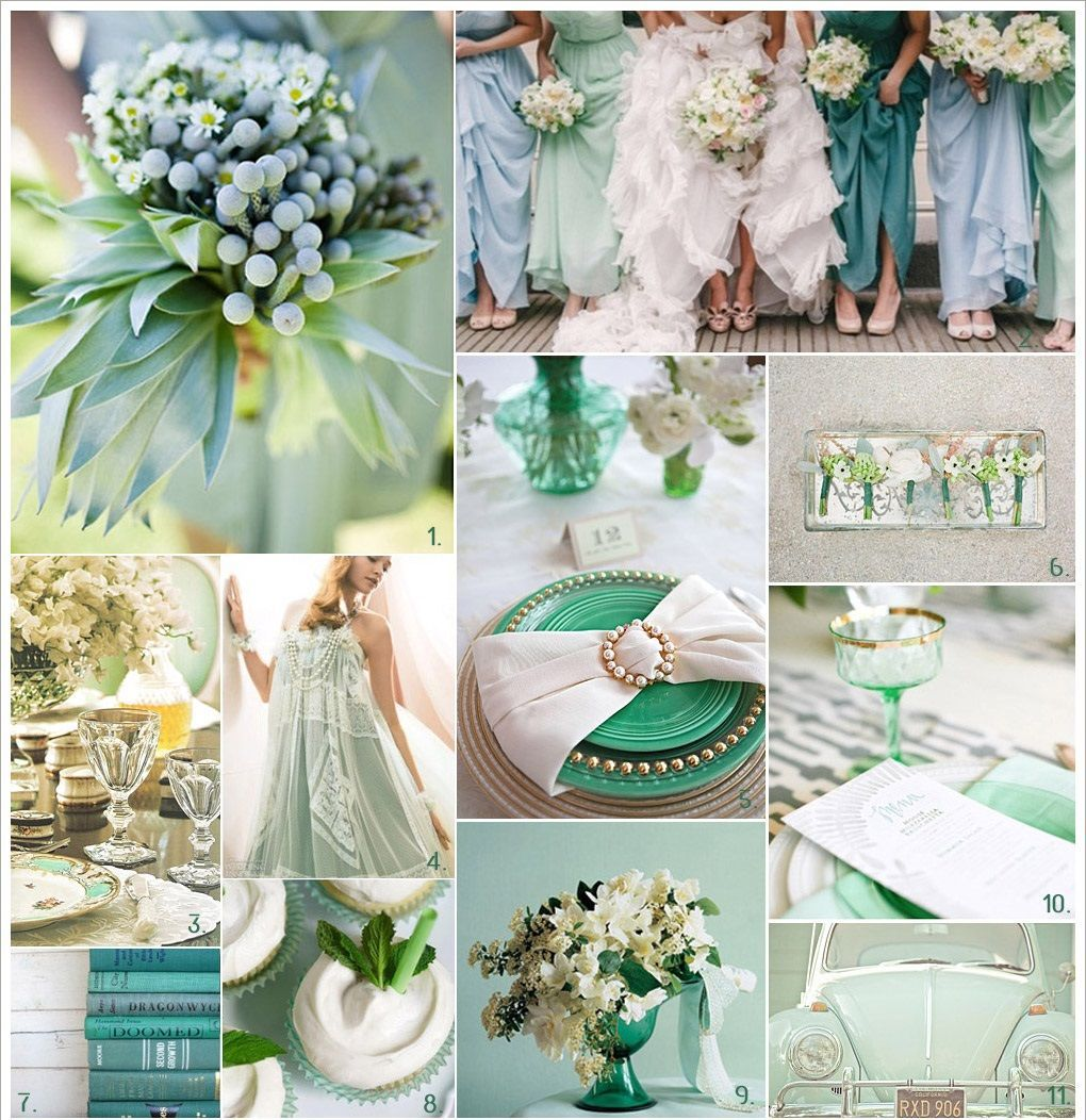 Mint Green Wedding Colors Bride Collage Ideas