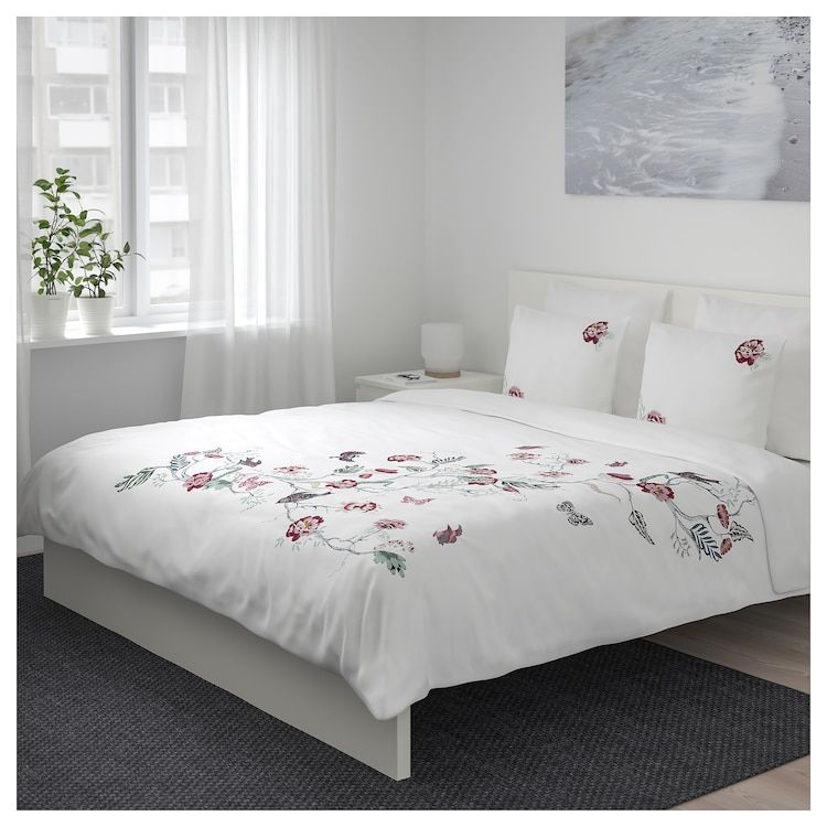 Jattelilja Duvet Cover And Pillowcase S White Floral Patterned Full Queen Double Queen Ikea Duvet Covers White Linen Bedding Bed Linen Sets