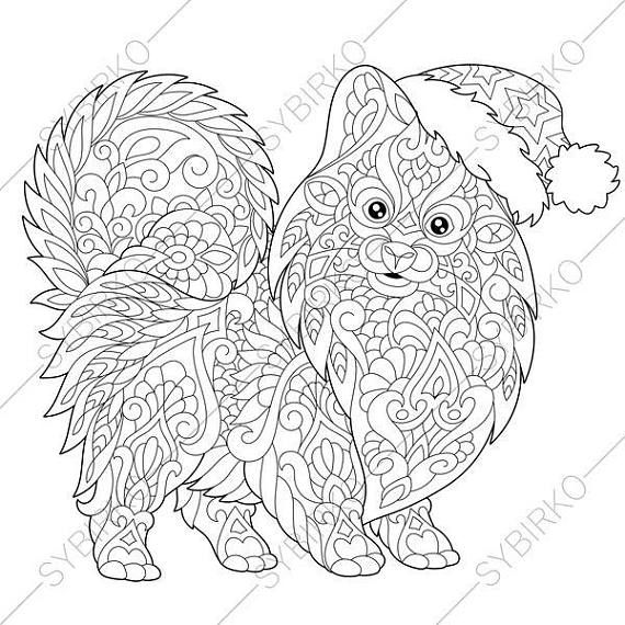 Pomeranian Spitz Dog Terrier In Santa Hat Coloring Pages