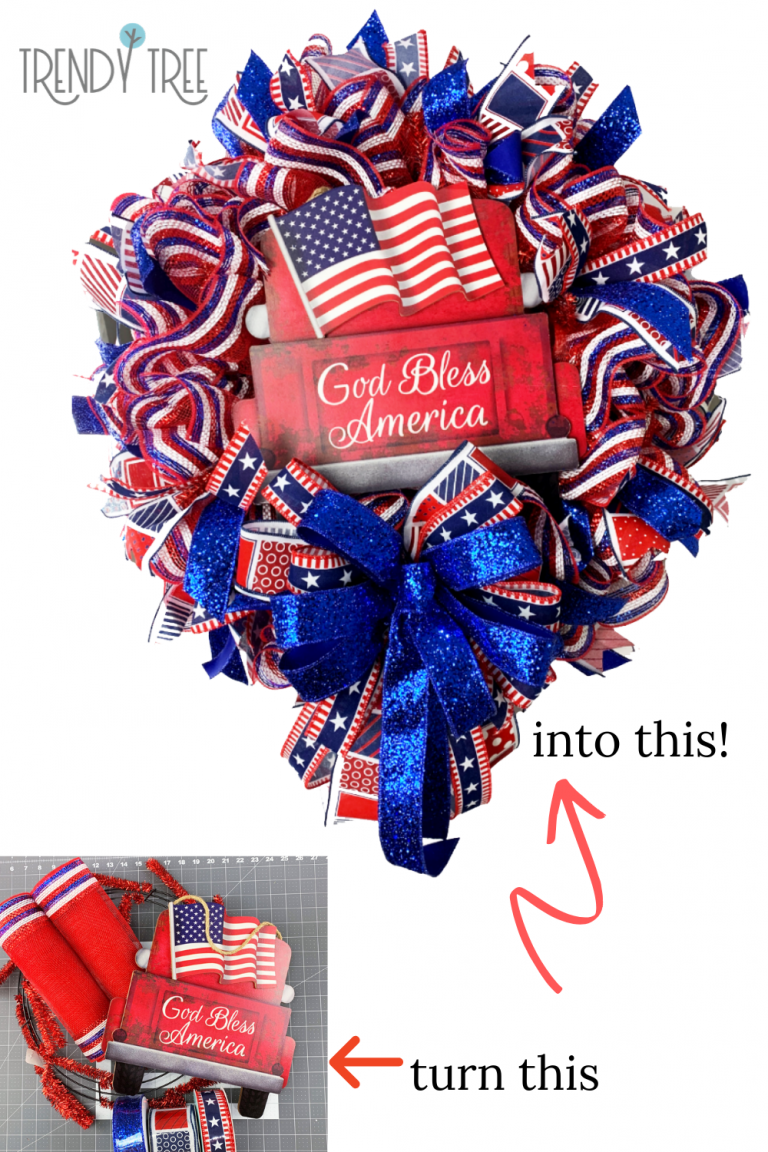 Photo of God Bless America Patriotic Wreath – Trendy Tree Blog | Holiday Decor Inspiration | Wreath tutorials | Christmas decorations | Mesh & ribbons