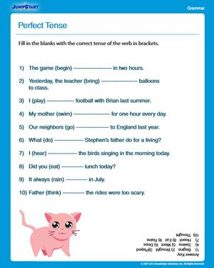 4th Grade English Worksheets Perfect Tense Free English Worksheet For 3rd Graders Jumjpstart Perfect Tense Free English Worksheets Adjective Worksheet
