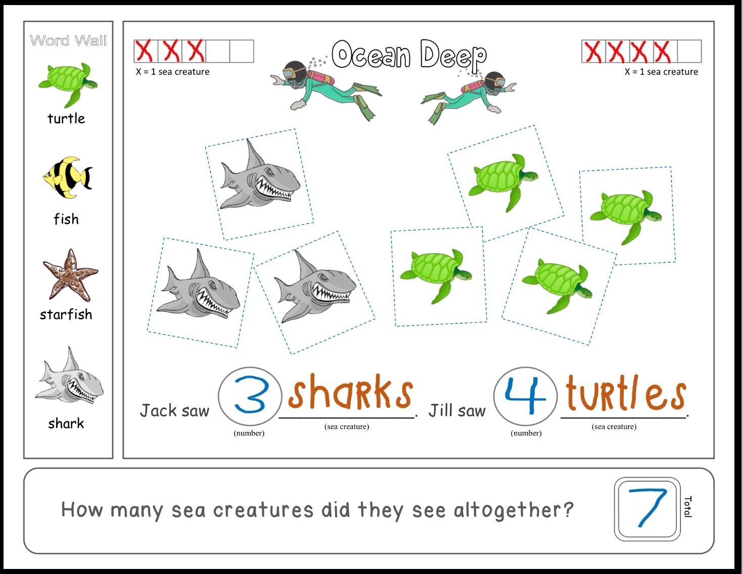 Addition Habitat Math Differentiated Interactive Word Problems Ocean