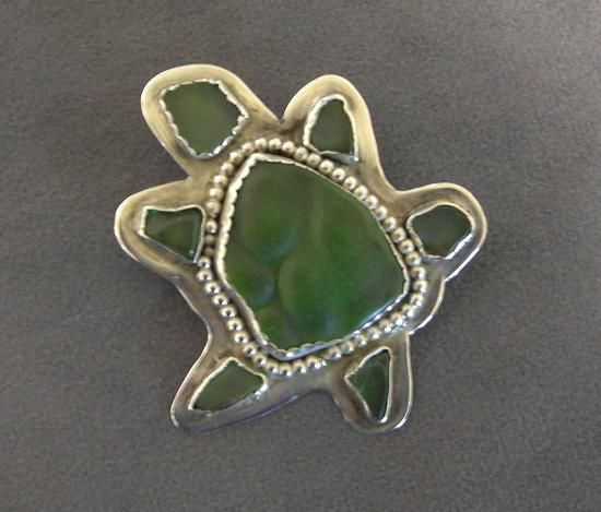 Tortuga Green Seaglass and Sterling