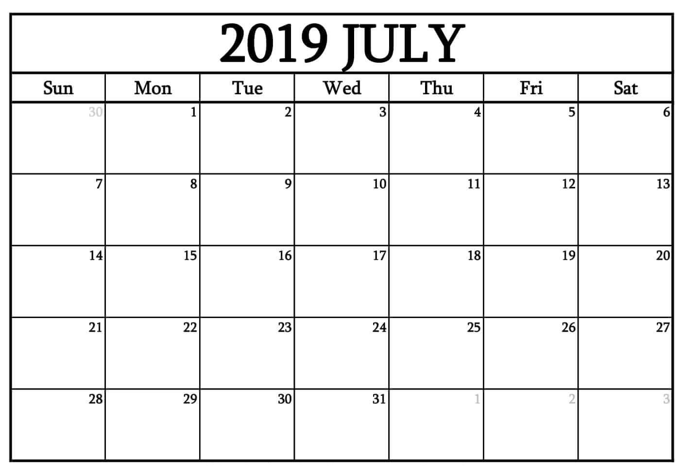 July 2019 Printable Calendar With Notes For Portrait July