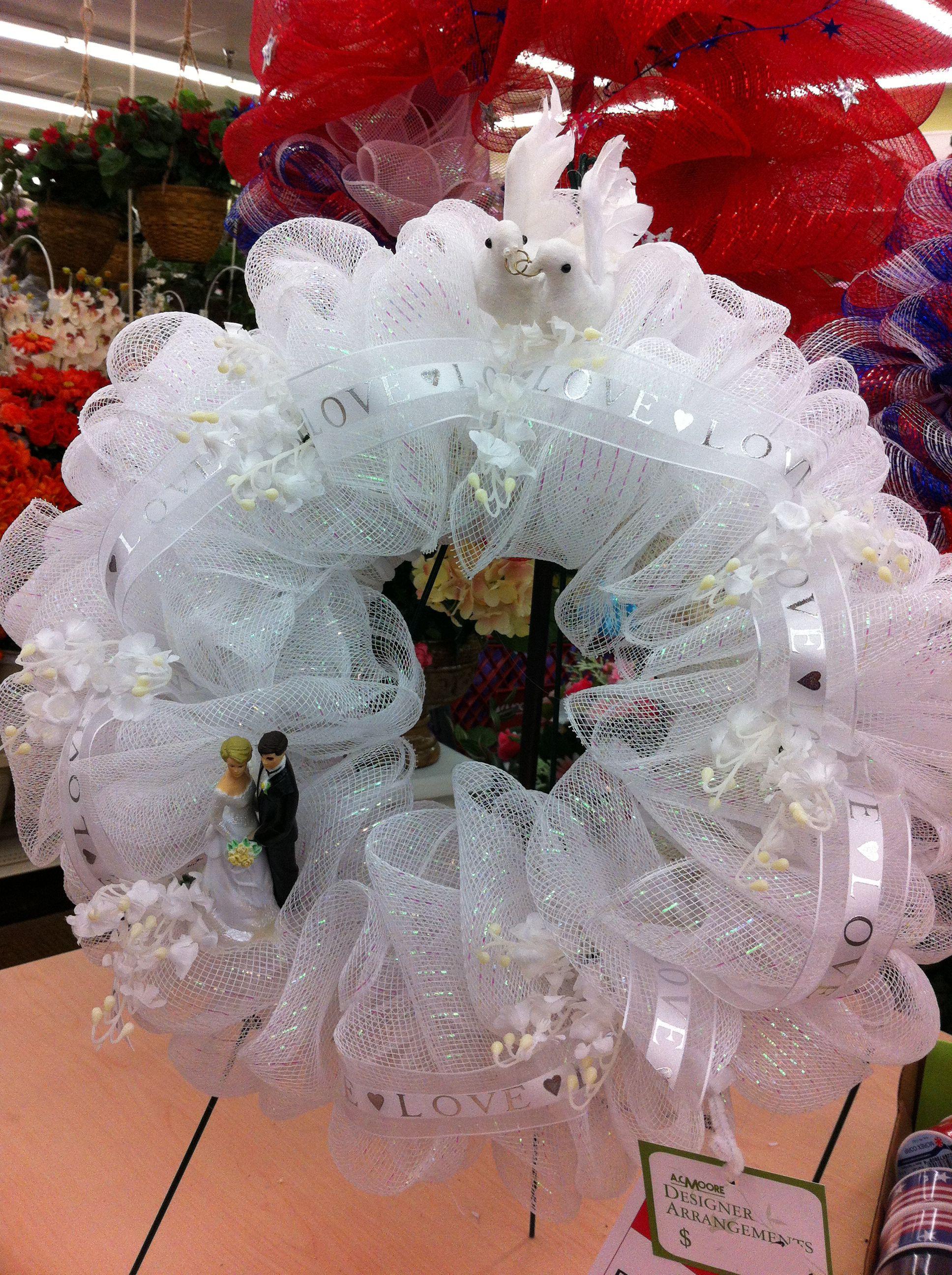 The Happy Couple Deco Mesh Wreath A.C. Moore Deptford, NJ #decomesh #wreath