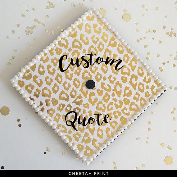 Gold Foil Custom Quote Graduation Cap  Bold Stripes Thin