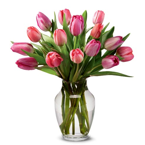 Pink Tulip Bouquet With Vase Fresh Flower Delivery Valentines Flowers