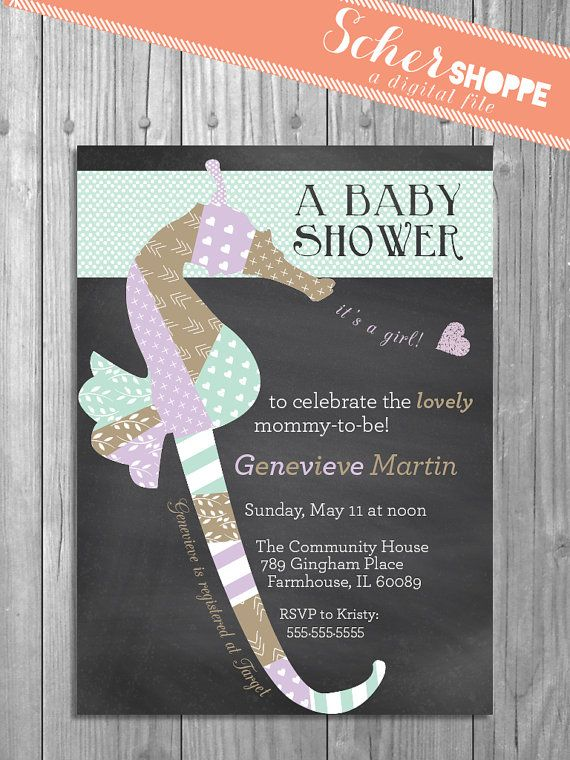Seahorse Baby Shower Invitation Rustic Chalkboard Baby Invite