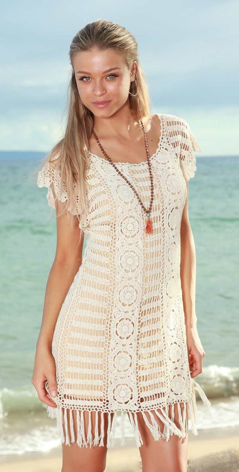 Saída de praia em crochê | Crochet | Pinterest | Vestidos tejidos ...