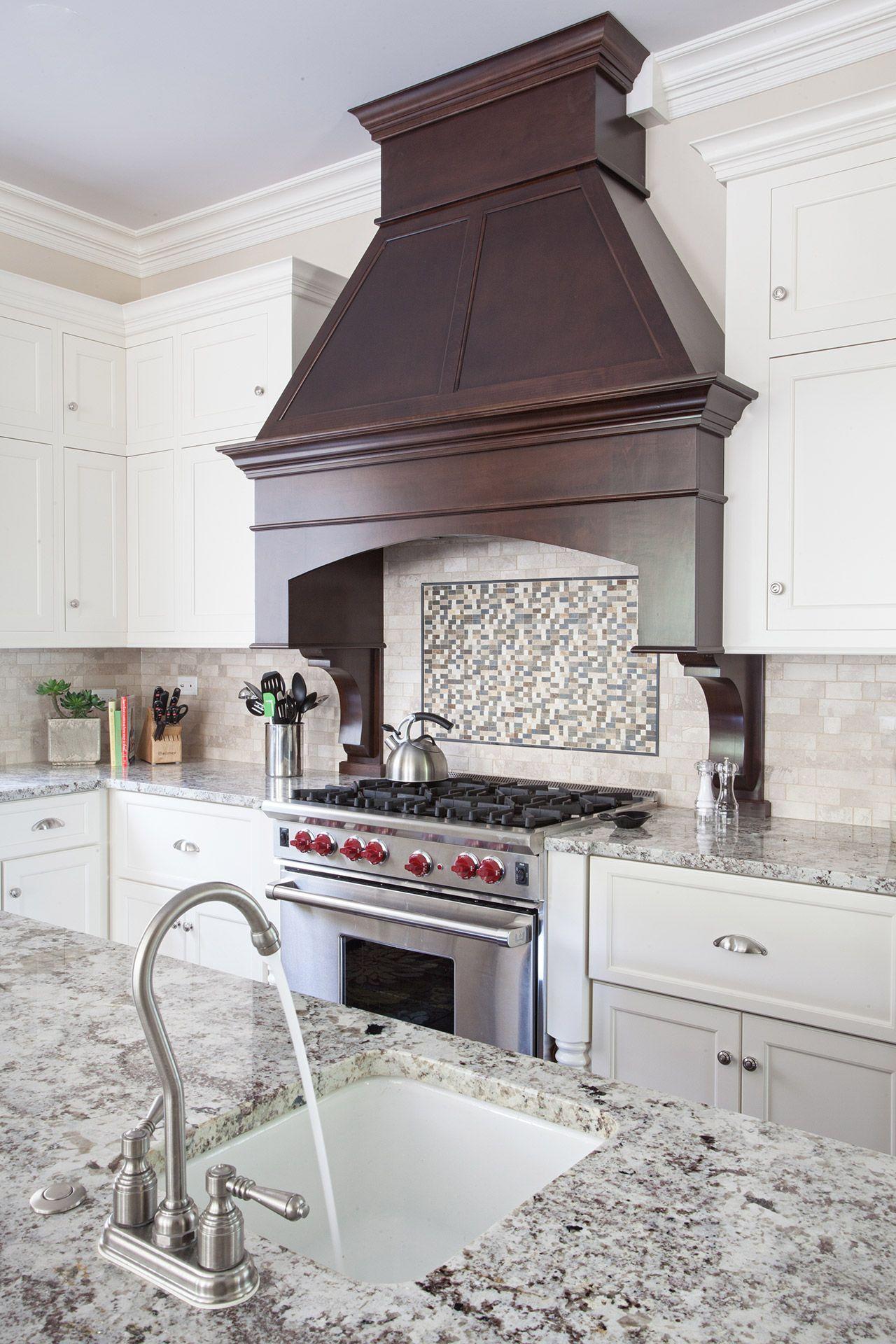 Wooden wood custom millwork stove hood Kitchen hood design