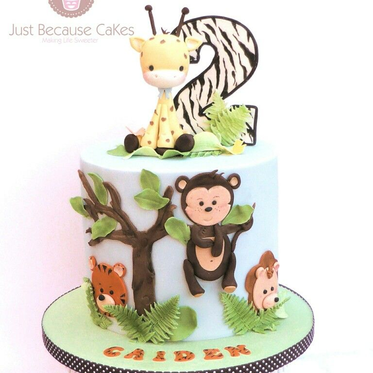 Jungle Themed 2nd Birthday Cake