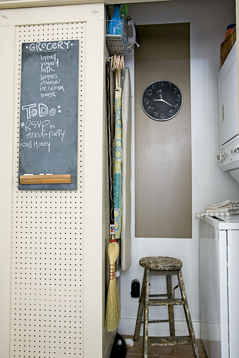 Pegboard On Laundry Room Walls To Cover Up Water Heater And