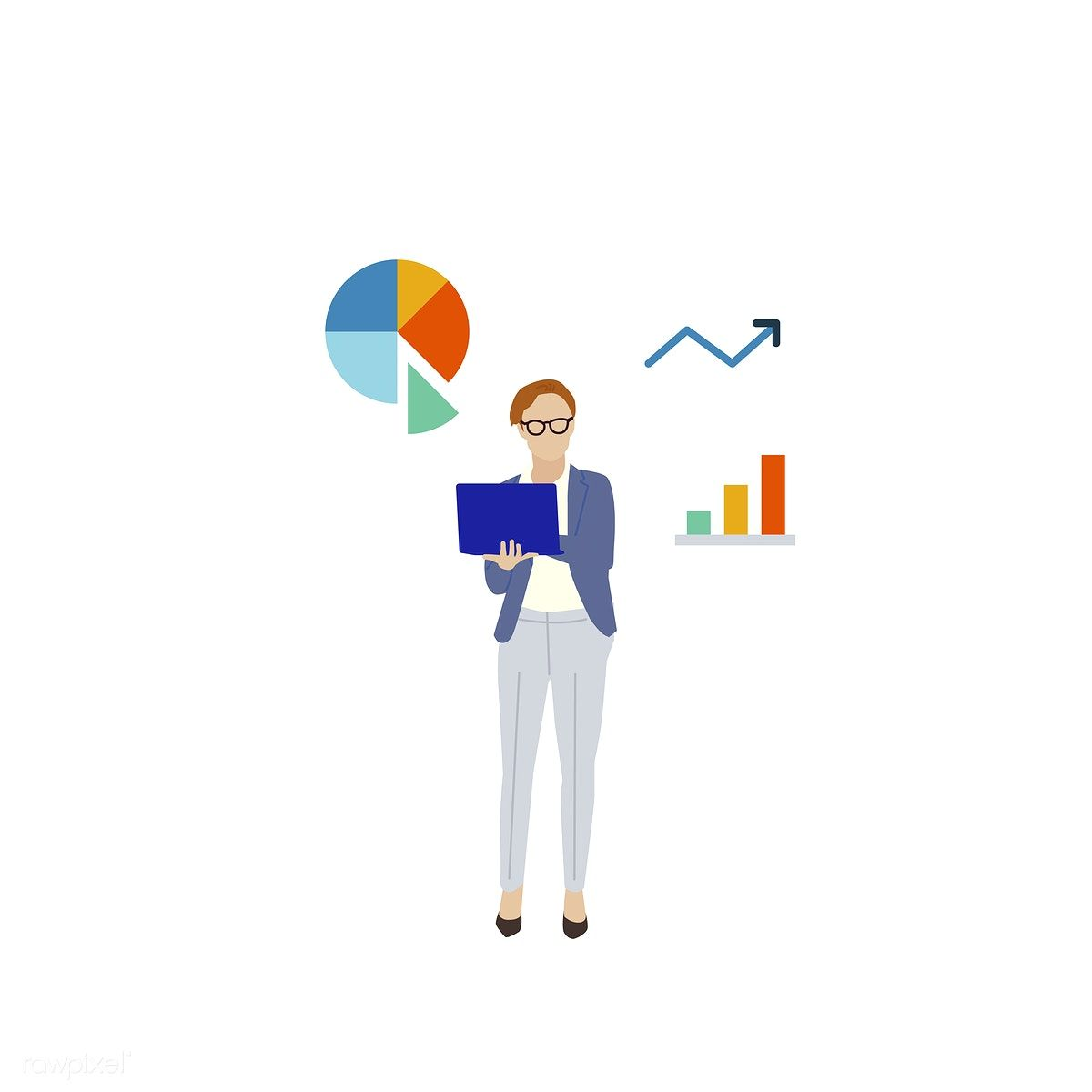 Download Premium Vector Of Illustrated Business Woman With Data