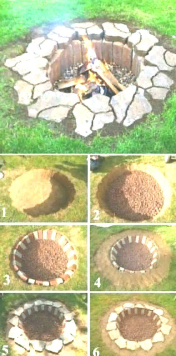 Rustikale DIY Feuerstelle, DIY Hinterhof-Projekte und Garten Ideen, Hinterhof DIY Ideen #feuerstellegarten
