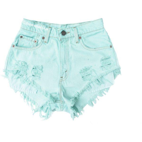"ALL SIZES ""SEAFOAM"" Vintage Levi high-waisted denim shorts pastel mint... ($25) ❤ liked on Polyvore featuring shorts, bottoms, pants, short, high-waisted shorts, vintage shorts, high-waisted jean shorts, vintage high waisted shorts and vintage denim shorts"