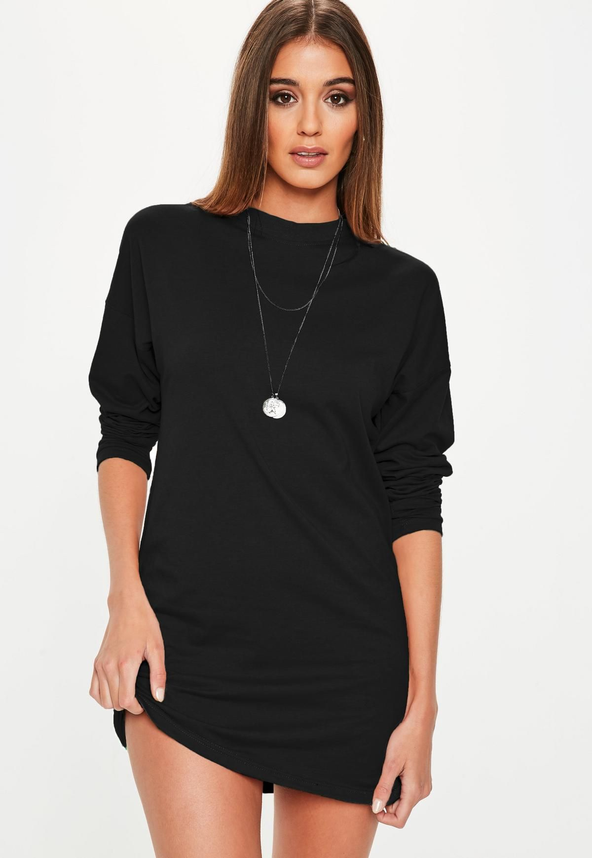 Black long sleeve t shirt dress clothing wishlist pinterest