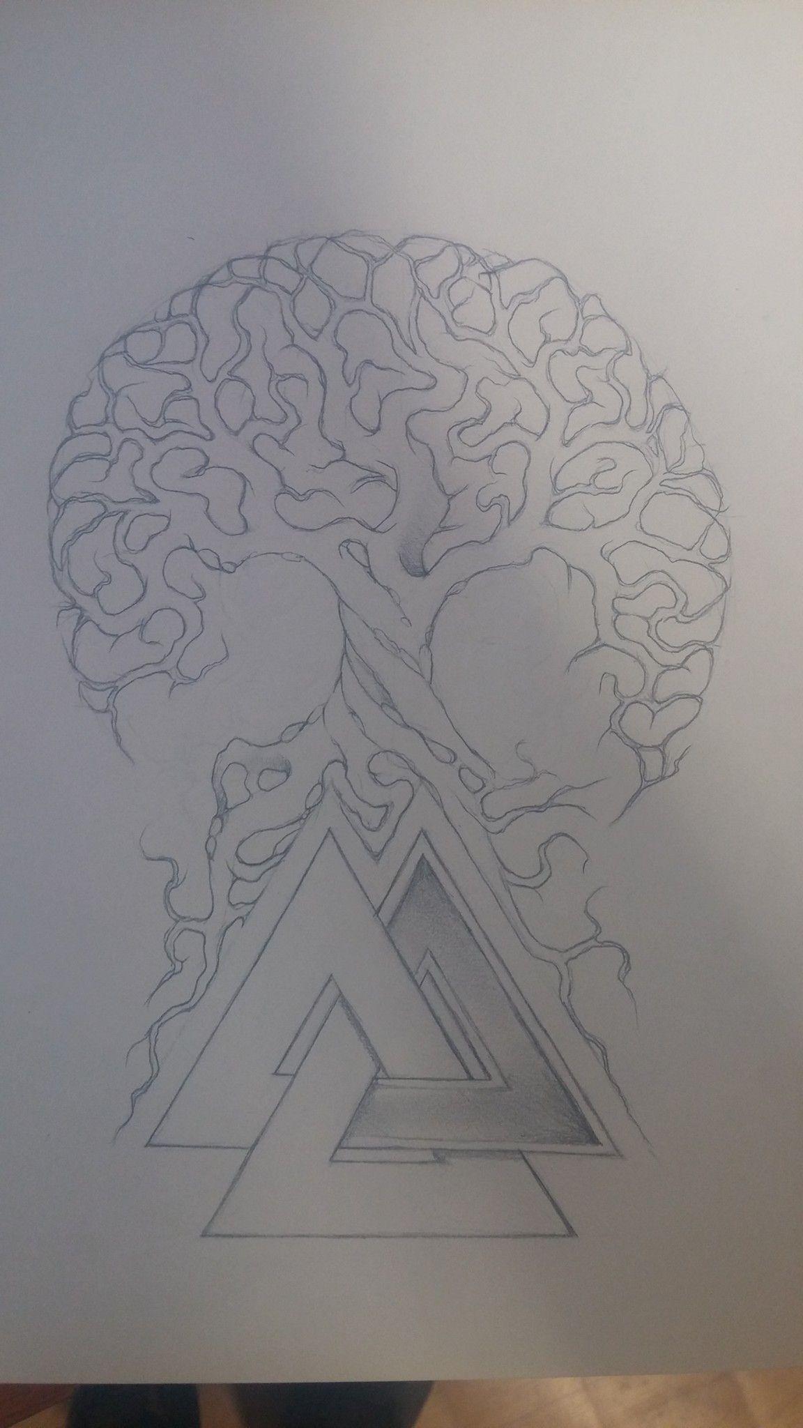 Yggdrasil Valknut Tattoo Treeoflife Drawing For Tattoo Yggdrasil