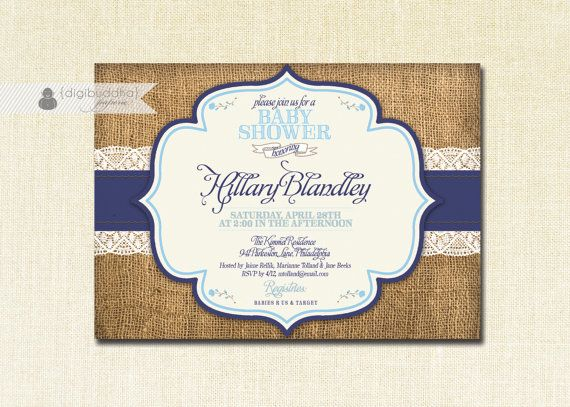 lace burlap baby shower invitation navy u0026 pastel blue rustic shabby chic baby boy blue sky