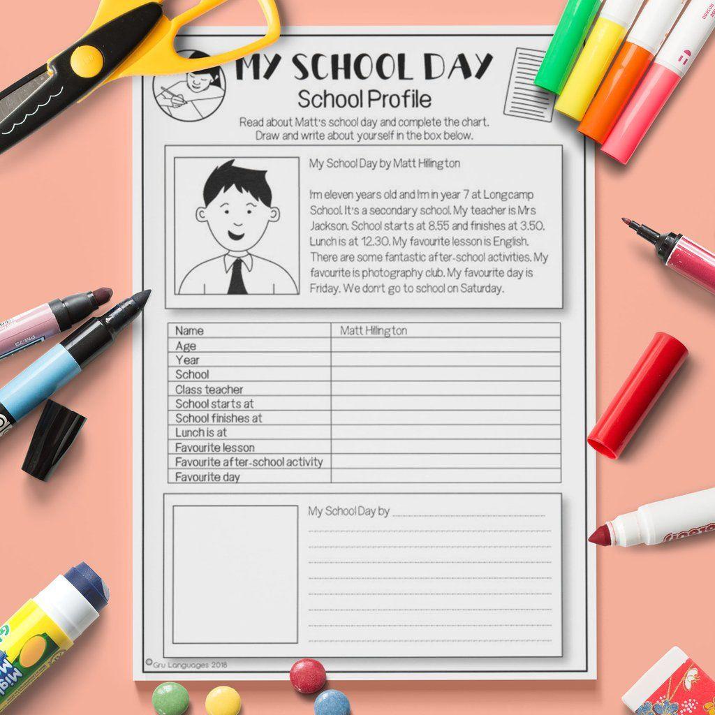 Esl Kids My School Day Reading Activity Worksheet Esl
