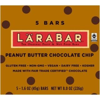 Larabar® Peanut Butter Chocolate Chip Fruit & Nut Bars 5 ct Box  Larabar is a delicious blend of unsweetened fruits, nuts and spices. Made from whole food, each flavor contains no more than nine ingredients. Pure and simple, just as nature intended. How could we resist using the best flavor combination ever? We couldn't! Our LarabarPeanut Butter & Chocolate Chip bar isn't just a tasty morsel of chocolaty goodness, it also contains 6 grams of protein and Fair Trade Certified chocolat...