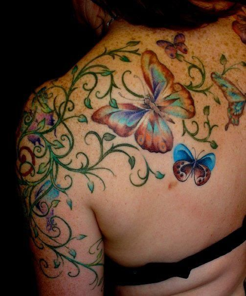 f6a934f67f63e Color Butterflies And Flower Tattoo On Back Shoulder   Cool Tattoos ...